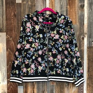 Jackets & Blazers - Plus Sized Floral Bomber Jacket